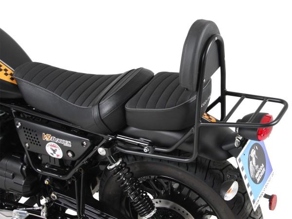 Sissy bar con portaequipajes negro para modelo V 9 Bobber (Bj.17-) con asiento largo