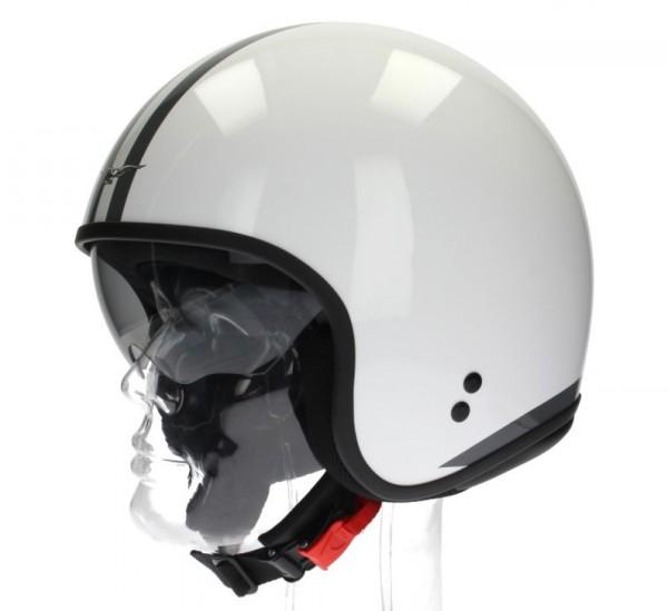 Casco Moto Guzzi Jet, Rayas blancas, blanco