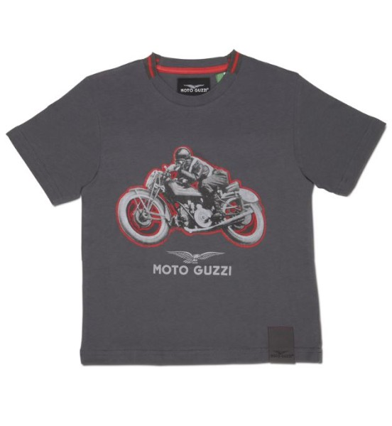 Camiseta niño Moto Guzzi garage algodón gris
