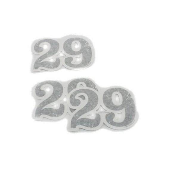 Set de decoración original, 29, números adhesivos, aluminio para Moto Guzzi V7 I + II