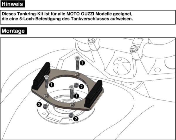 Tankring Lock-it Accesorio de 5 orificios para V 7 II Classic (Bj.15-16) original Hepco & Becker