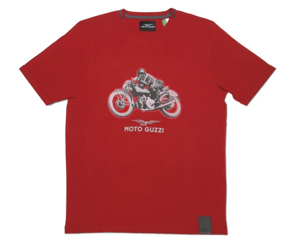 Camiseta de algodón garaje hombre Moto Guzzi roja