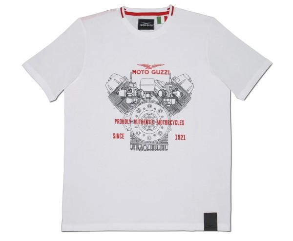 Camiseta de hombre Moto Guzzi de algodón clásico blanco