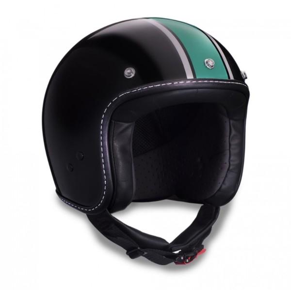 Casco jet Moto Guzzi, V7 III Special, negro, verde, plateado, negro