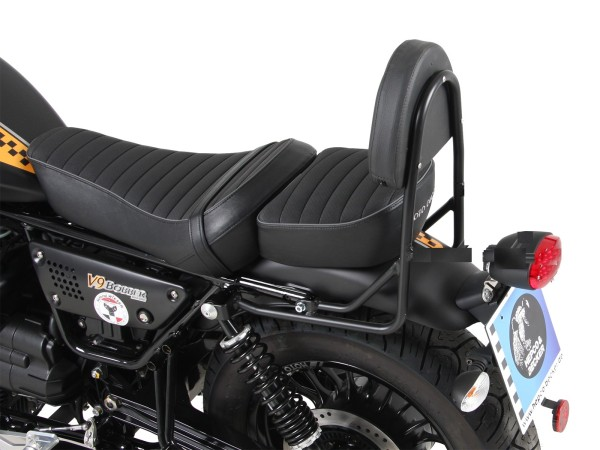 Sissy bar sin portaequipajes negro para modelo V 9 Bobber (Bj.17-) con asiento largo