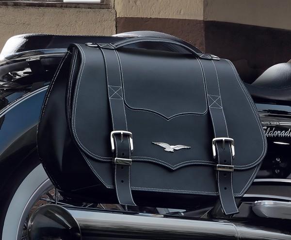 Alforjas originales, cuero, negro, 23 l para Moto Guzzi Eldorado