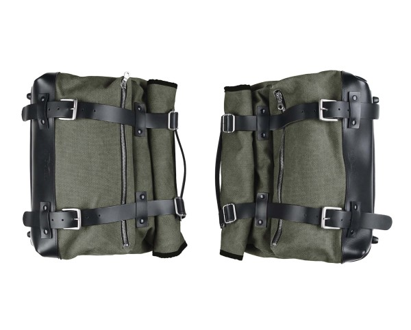 Juego de maletas laterales, verde, lona para Moto Guzzi V9 Roamber / Bobber / V7 850 2021-